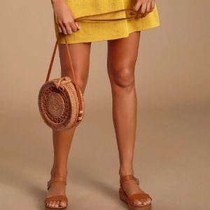 Handbags - Brown Woven Straw Rattan Beach Circle Bag
